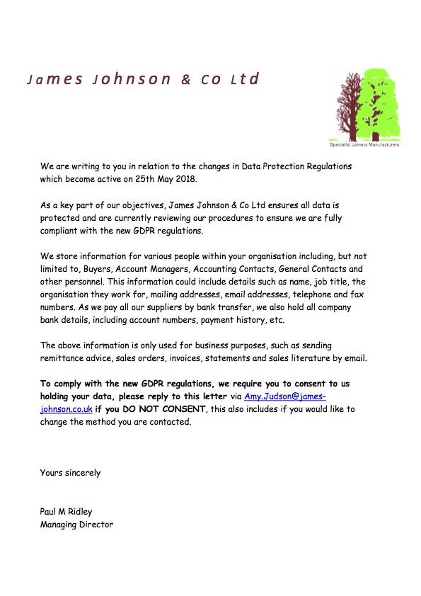 GDPR-Compliance - James Johnson & Co Ltd